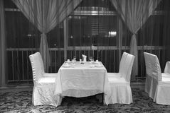 Restaurant. With nobody, image converted into black and white Stock Photos