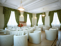 Restaurant. 3d interior salon and classic stile Stock Photography