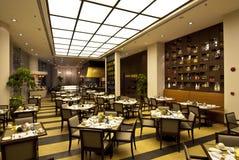 Restaurant. Empty tables in restaurant in night illumination Royalty Free Stock Photo