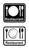 Restaurant. Dinner set icons on black and white Stock Images