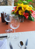 Restaurant. Service table with empty plates and glasses Stock Images