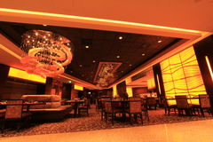 Restaurant. Modern restaurant with expensive construction and lighting Royalty Free Stock Photos