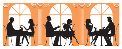 At Restaurant. Silhouettes of three couples dining at restaurant Royalty Free Stock Photos