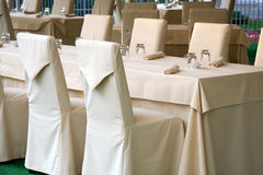 Restaurant. Served tables at the restaurant royalty free stock image