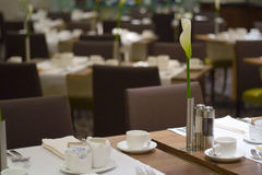 Restaurant. Tables served for the breakfast at the reastaurant stock images