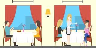 Restaurant aan de gang royalty-vrije illustratie
