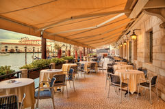 Restaurant along Grand Canal. Venice, Italy. Stock Photos