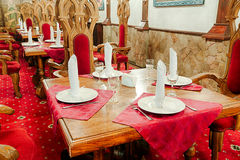 Restaurant with ancient medieval castle interior Stock Photography