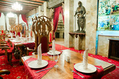 Restaurant with ancient medieval castle interior Royalty Free Stock Photography
