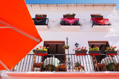 Restaurant in Andalusia. Decorated frontage of a restaurant on the place Plaza de los Naranjos in the quarter old town of Marbella, Spain Royalty Free Stock Photos