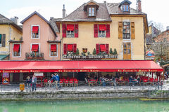Restaurant in Annecy, France Stock Images