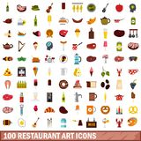 100 restaurant art icons set, flat style. 100 restaurant art icons set in flat style for any design vector illustration Royalty Free Illustration