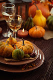 Restaurant autumn place setting Stock Photos