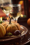 Restaurant autumn place setting Royalty Free Stock Photo