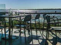 Restaurant avec la vue du fleuve Parana Images libres de droits