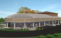 Restaurant avec le toit en verre Images stock