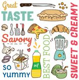 Restaurant background with various food and drink doodle stock illustration