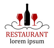 Restaurant background with wine glass and bottle Stock Image