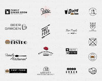 Restaurant badges logos and labels for any use. Restaurant badges logos and labels can be used to design signage bistro, menu, fast food, cafe, on business cards Stock Photos