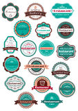 Restaurant and bakery labels in vintage style Stock Photos