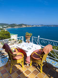 Restaurant balcony in Mallorca. With beautiful Royalty Free Stock Photo