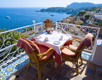 Restaurant balcony in Mallorca Stock Image