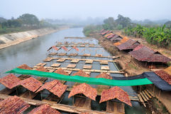 Restaurant Bamboo Raft on River on Pai River Maehongson Thailand Royalty Free Stock Photos