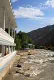 Restaurant on the bank. Of Varzob, Tadjikistan Royalty Free Stock Photos