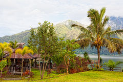Restaurant on the bank of the lake Batur, Royalty Free Stock Image