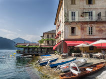 Restaurant on the bank in Orta, Italian Lake District Stock Photo