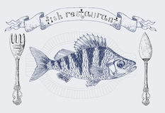Restaurant banner with crucian carp Stock Photography