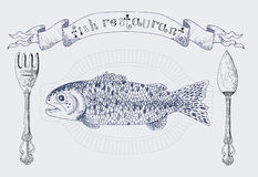Restaurant banner with rainbow trout and vignette Stock Images