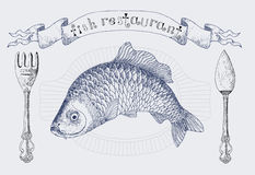 Restaurant Banner With Carp And Cutlery Stock Images