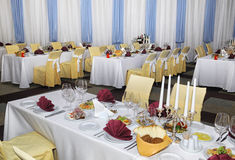 A restaurant banquet room Royalty Free Stock Photos
