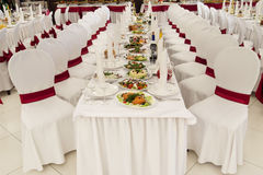 A restaurant banquet room decorated for a wedding. Party Royalty Free Stock Photography