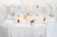 Restaurant banquet table. Place setting at laid restaurant banquet table white Royalty Free Stock Photos