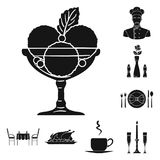 Restaurant and bar black icons in set collection for design. Pleasure, food and alcohol vector symbol stock web. Restaurant and bar black icons in set collection Royalty Free Stock Photography