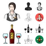 Restaurant and bar cartoon,black,flat,monochrome,outline icons in set collection for design. Pleasure, food and alcohol. Vector symbol stock  illustration Royalty Free Stock Photo