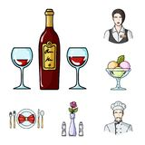 Restaurant and bar cartoon icons in set collection for design. Pleasure, food and alcohol vector symbol stock web. Restaurant and bar cartoon icons in set Stock Photo