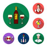 Restaurant and bar flat icons in set collection for design. Pleasure, food and alcohol vector symbol stock web. Restaurant and bar flat icons in set collection Stock Photography