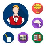 Restaurant and bar flat icons in set collection for design. Pleasure, food and alcohol vector symbol stock web. Restaurant and bar flat icons in set collection Royalty Free Stock Photography