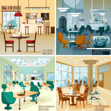 Restaurant Bar 4 Flat Icons Square Stock Image