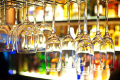 Restaurant Bar Glasses. Colorful cocktail glasses in restaurant bar royalty free stock photography