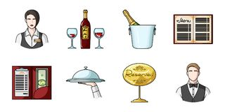 Restaurant and bar icons in set collection for design. Pleasure, food and alcohol vector symbol stock web illustration. Royalty Free Stock Photography