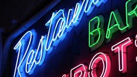 Restaurant, Bar, Jackpots - Neon Sign stock footage