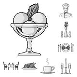 Restaurant and bar monochrome icons in set collection for design. Pleasure, food and alcohol vector symbol stock web. Restaurant and bar monochrome icons in set Stock Images