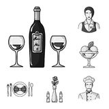 Restaurant and bar monochrome icons in set collection for design. Pleasure, food and alcohol vector symbol stock web. Restaurant and bar monochrome icons in set Stock Photo