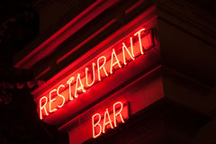 Restaurant and Bar neon sign Royalty Free Stock Photography
