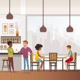 Restaurant, Bar oder Kneipe voll vom Kunden-flachen Vektor lizenzfreie abbildung