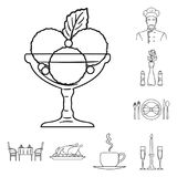Restaurant and bar outline icons in set collection for design. Pleasure, food and alcohol vector symbol stock web. Restaurant and bar outline icons in set Royalty Free Stock Photos